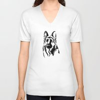 german shepherd V-neck T-shirts featuring German Shepherd by JonathanStephenHarris