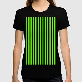 Bright Green and Black Vertical Stripes T-shirt