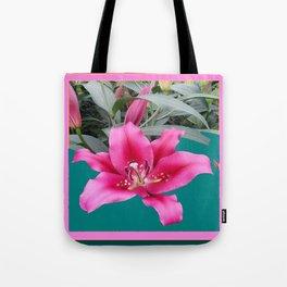 FUCHSIA PINK LILY TEAL ARTWORK Tote Bag