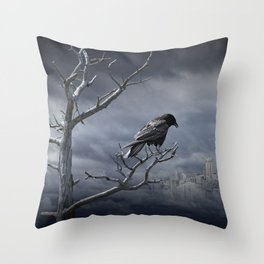 Observing the City Below Throw Pillow