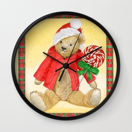 christmas_red_little_bear Wall Clock