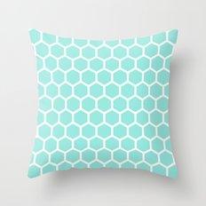 Honeycomb Tiffany Blue Throw Pillow