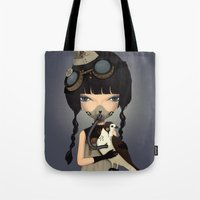 pilot Tote Bags featuring pilot by Anne  Martwijit