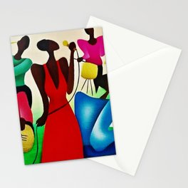 African American Masterpiece 'Bourbon Street New Orleans Jazz' by Fred Blassingham Stationery Cards