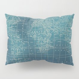 Grunge World Map Pillow Sham