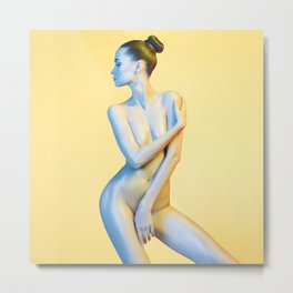 Nude Woman Before Yellow Background Metal Print