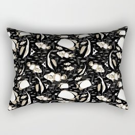 Tropical Angelfish Black White Pattern Rectangular Pillow