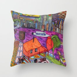 "One of my ""Old Man River"" dreams (My dreams of America, part4) Throw Pillow"