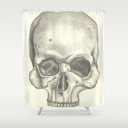 Vintage Skull - Black and White Drawing Shower Curtain
