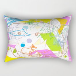 Be happy! colorful doodle abstraction Modern graphic design Pink Yellow Blue Green Neon colors Rectangular Pillow