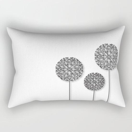 Black Star Flower Rectangular Pillow