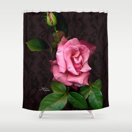 Pink Rose on Black Lace, Scanography Shower Curtain