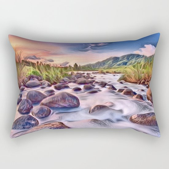 Gorgeous Epic River in Landscape with Rocks Rectangular Pillow