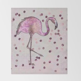 Glamorous Flamingo pink and rose gold sparkle Throw Blanket