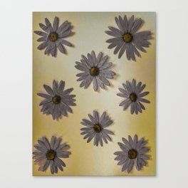 Gray and Yellow Flower Art Canvas Print
