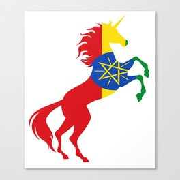 Unicorn Ethiopia Flag Magical Unicorn Ethiopian Canvas Print