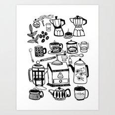 Coffee Doodles Art Print