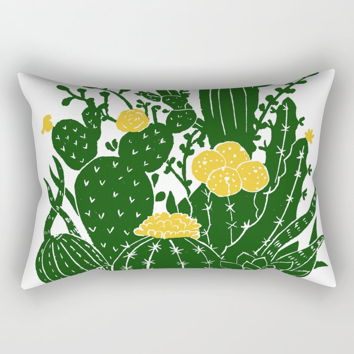Cactus Flowers (yellow) Rectangular Pillow