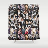 harry styles Shower Curtains featuring Harry Styles - Collage by Pepe the frog