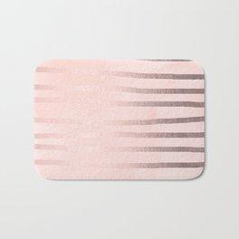 Rosegold Pink Stripes Bath Mat