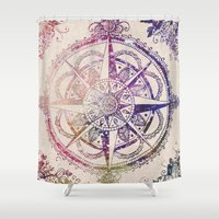 hippie Shower Curtains featuring Voyager II by Jenndalyn