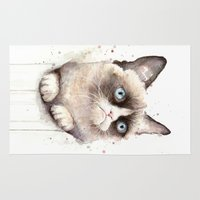 meme Area & Throw Rugs featuring Grumpy Watercolor Cat by Olechka