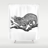 chameleon Shower Curtains featuring Chameleon  by Tim Van Den Eynde