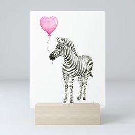 Zebra with Pink Balloon Mini Art Print