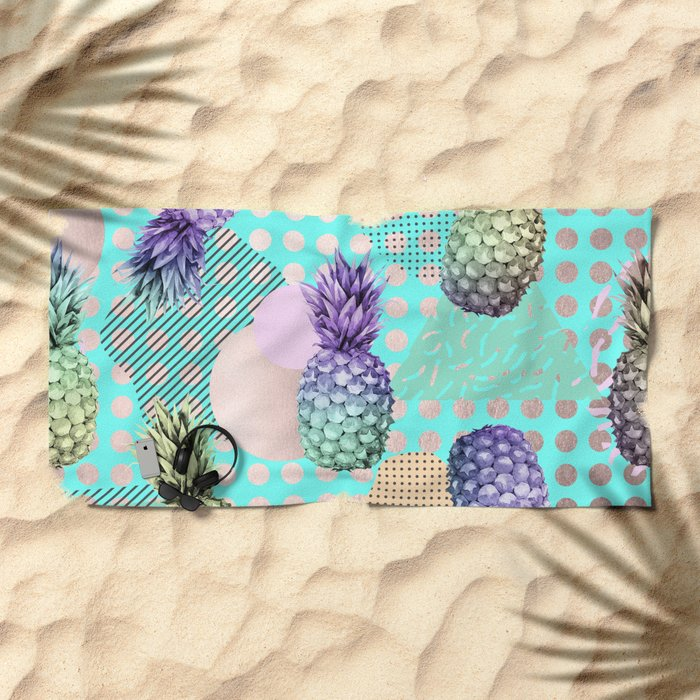Pineapple Summer Rainbow Rose Gold Beach Towel By Naturemagick