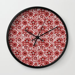 Graphic Flowers Red Wall Clock