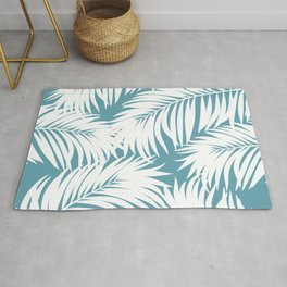 Palm Tree Fronds White on Soft Blue Hawaii Tropical Décor Rug