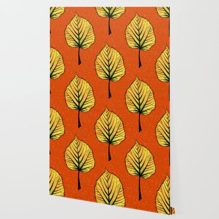 Yellow Linden Leaf On Orange Botanical Art Wallpaper