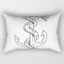 Rattlesnake Coiling on Anchor Drawing Rectangular Pillow