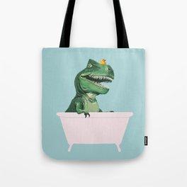 Playful T-Rex in Bathtub in Green Tote Bag
