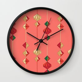 Origami decorations on living coral Wall Clock