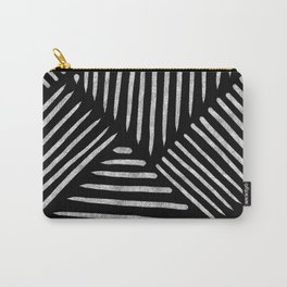Lines and Patterns in Black and White Brush Carry-All Pouch