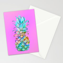 Pink Rainbow Color Splash Pineapple Stationery Cards