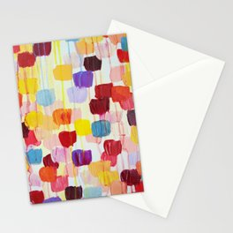 DOTTY - Stunning Bright Bold Rainbow Colorful Square Polka Dots Lovely Original Abstract Painting Stationery Cards