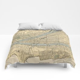 Vintage Map of Pittsburgh PA (1891) Comforters