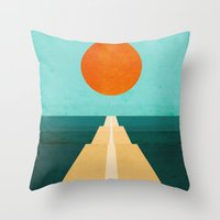 road Throw Pillows featuring The Road Less Traveled by Picomodi