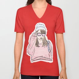 Girl in Rose Sweater with Blue Beanie Unisex V-Neck
