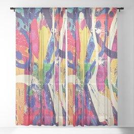 Street Art Paint Splatter 2 Sheer Curtain