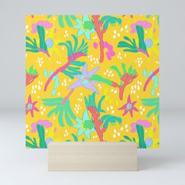 Australian Kangaroo Paw Floral in Golden Mango Mini Art Print