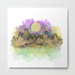 Pale Yellow Moon Landscape Metal Print
