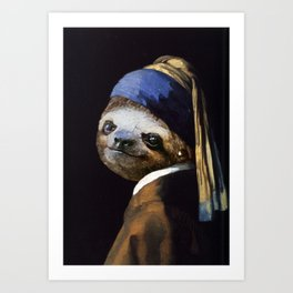 The Sloth with a Pearl Earring Art Print