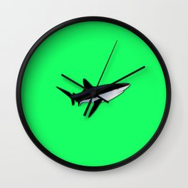 Great White Shark  on Acid Green Fluorescent Background Wall Clock