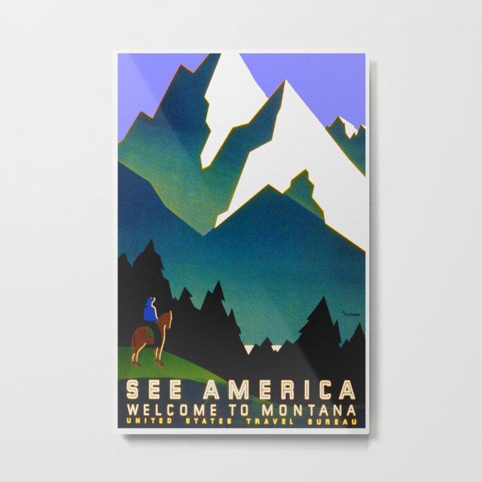 See America Montana - Retro Travel Poster Metal Print