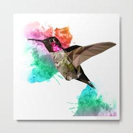 Humming bird Poly + painsplash Metal Print