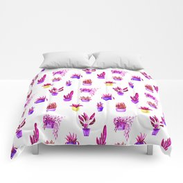 Hand painted magenta pink lilac yellow watercolor cactus floral Comforters