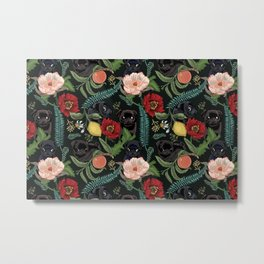 Botanical and Black Pugs Metal Print